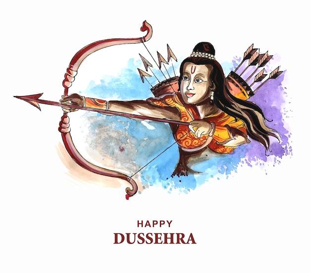 Lord rama con freccia che uccide ravana sullo sfondo della carta del festival di navratri