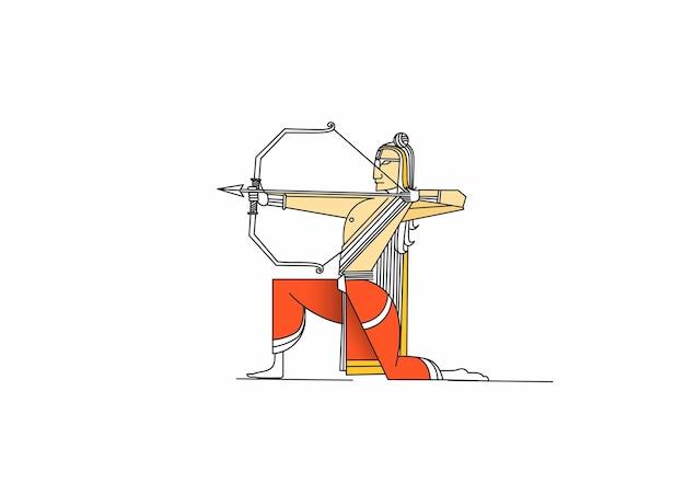 Lord rama with arrow killing ravana in navratri festival and dussehra design