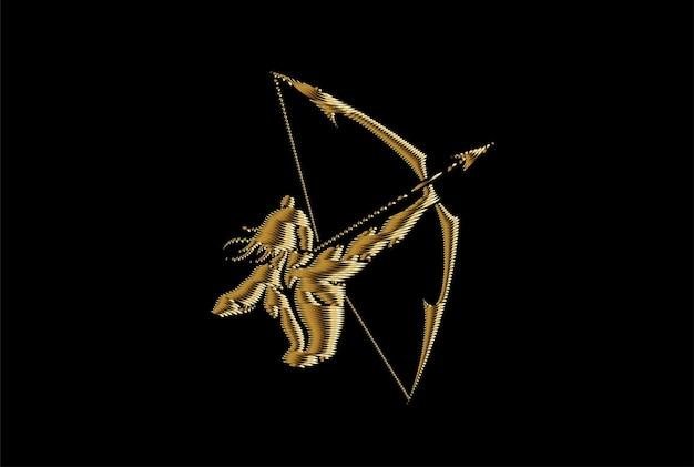 Lord rama with arrow killing ravana in navratri festival of india poster, gold icon vector illustration.