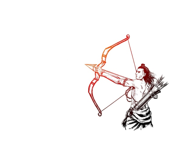 Lord rama with arrow with happy dussehra, vector illustration.