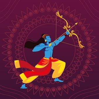 花の装飾的な背景の上の弓と矢を持つ主ラーマ