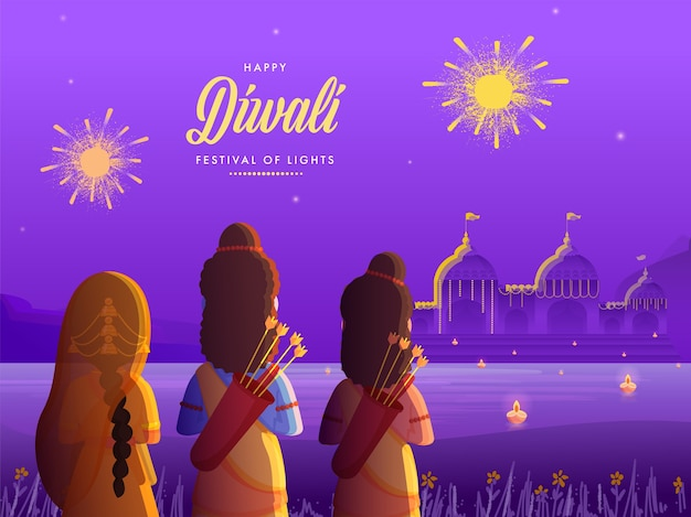 Lord rama with his wife sita and brother laxman on decorative native city background for happy diwali celebration.