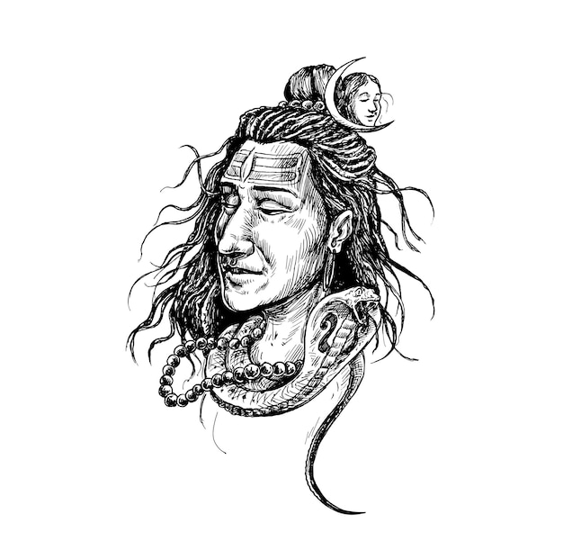 주님 시바 얼굴 문신 - mahashivaratri 포스터, 손으로 그린 스케치 벡터 일러스트 레이 션.