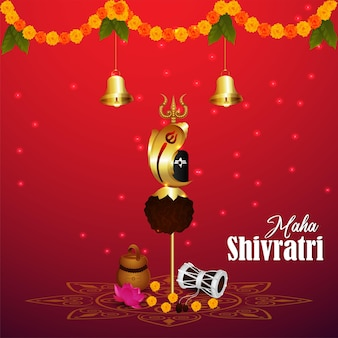 Lord shivji trishul and background for happy maha shivratri