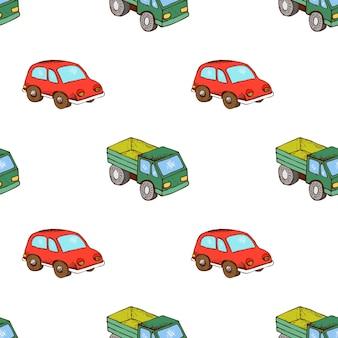 トラックと車のおもちゃのパターンはシームレスです。漫画の輸送の背景、