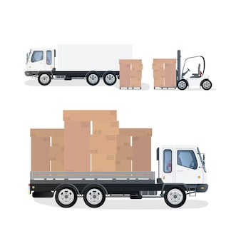 골판지 상자가있는 트럭 및 팔레트. 지게차가 팔레트를 들어 올립니다. 산업용 지게차.