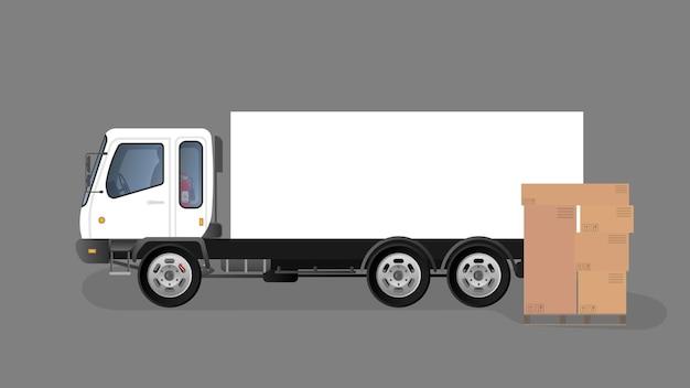 서랍 일러스트와 함께 트럭 및 팔레트