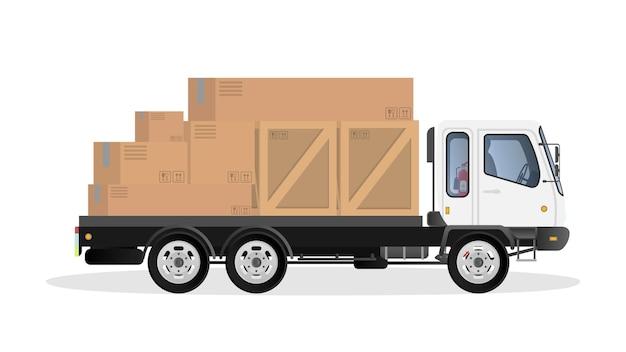 ローリーは箱を運びます。貨物の配達と積み込みの概念。孤立。 。