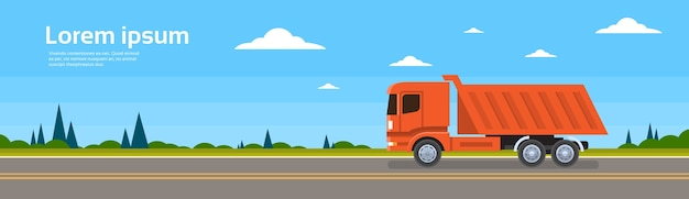 Lorry tipper truck dump car on road cargo shipping delivery
