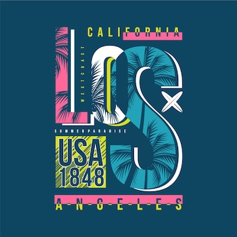 Los angeles california beach vector typography design illustration