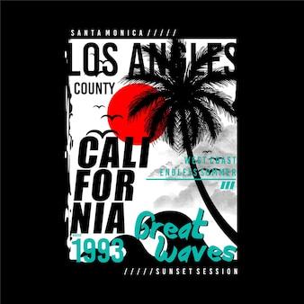 로스앤젤레스 캘리포니아 여름 큰 파도 타이포그래피 티셔츠 그래픽 벡터