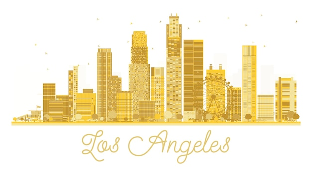 Los angeles city skyline golden silhouette. vector illustration. simple flat concept for tourism presentation, banner, placard or web site. los angeles isolated on white background.