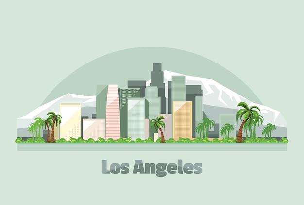 미국 그림에서 로스 앤젤레스 도시의 스카이 라인