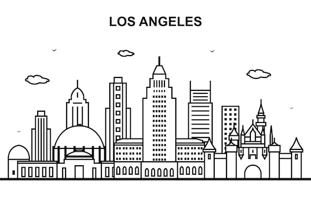 Los angeles city tour cityscape skyline line outline