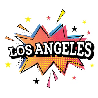 Los angeles comic text in pop art style.