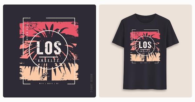 로스 앤젤레스. 그래픽 티셔츠 디자인, 그런지 스타일의 프린트.