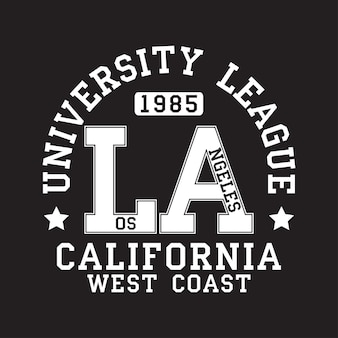 Los angeles la california typography for tshirt original sportswear print athletic apparel