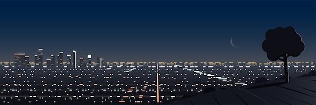 ロサンゼルスの夜景パノラミックヒルの視点