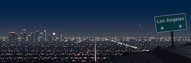 Los angeles night scene panoramic and road