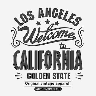 Печать лос-анджелеса. печать типографии легкой атлетики, векторная графика эмблемы футболки калифорнии, винтажная спортивная одежда, дизайн футболки