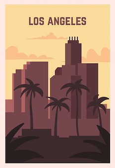 Los angeles retro poster. los angeles landscape illustration.