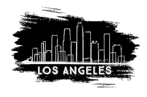 ロサンゼルスのスカイラインのシルエット。手描きのスケッチ。近代建築とビジネス旅行と観光の概念。プレゼンテーションバナープラカードとwebサイトの画像。ベクトルイラスト。