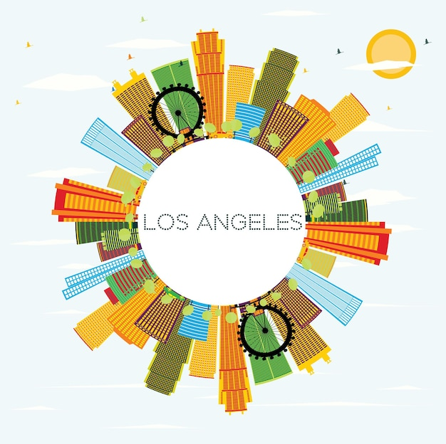 Los angeles skyline with color buildings blue sky and copy space