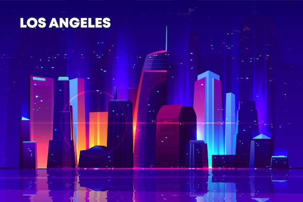 Skyline di los angeles con illuminazione al neon.