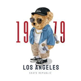 スケートボードのイラストを保持しているサングラスでかわいいクマの人形とロサンゼルスのスローガン