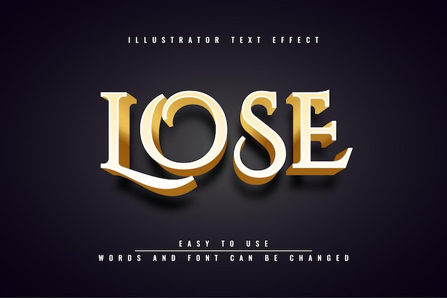 Lose - 3d gold editable text effect