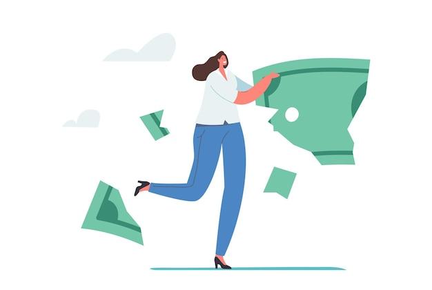 돈, 디플레이션 및 인플레이션 개념을 잃습니다. 금융 위기에 대한 투자, 작은 사업가 캐릭터는 크럼블과 부품에 거대한 달러 지폐가 떨어져 나갑니다. 만화 사람들 벡터 일러스트 레이 션