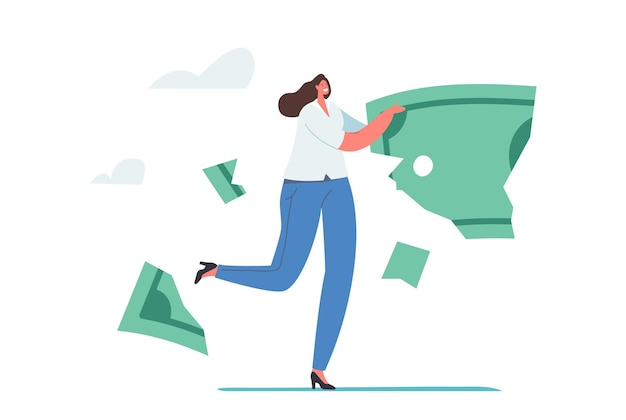 Lose money, deflation and inflation concept. investment in financial crisis, tiny businesswoman character carry huge dollar banknote fall apart on crumble and parts. cartoon people vector illustration