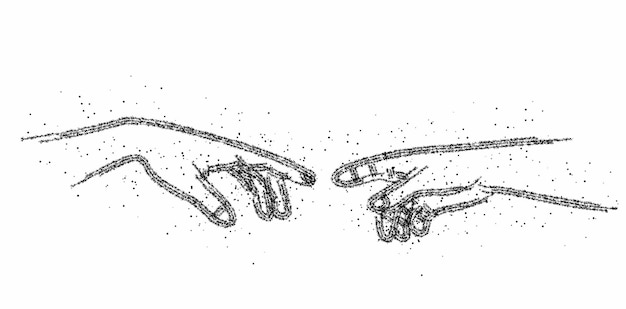 손가락, 입자 벡터 삽화로 만지는 인간의 손을 잃습니다.
