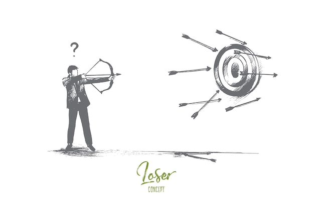 Loser concept. hand drawn failure in business. unfortunate attempt to hit the target isolated illustration.