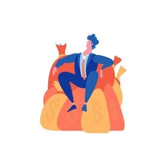 ドル記号の付いた袋に座っている幸運な男と敗者の失敗の成功を勝ち取ったビジネスマンの構成