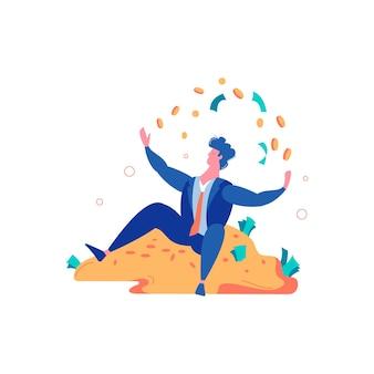 Composizione vincente di uomini d'affari vincenti per il fallimento del perdente con personaggio maschile seduto su una pila d'oro