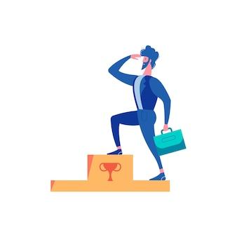 男性キャラクターが勝者の表彰台を上げることで敗者の失敗の成功を勝ち取ったビジネスマンの構成