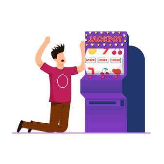 Losing gambling on machine vector illustration.