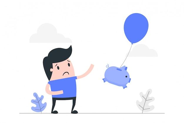 Losing money concept illustration.