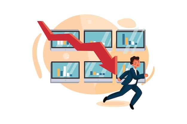 Стрелка потери, поражающая бизнесмена, показывающего финансовый кризис