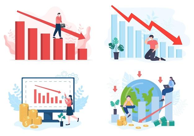 비즈니스 손실로 인해 파산, 경제 또는 대출 회수 문제 그림