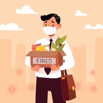 Perdita di lavoro a causa della crisi del coronavirus con l'uomo licenziato