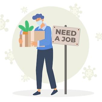Perdita di lavoro dovuta alla crisi del coronavirus con scatola di contenimento per uomo