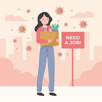 Perdita di lavoro a causa della crisi del coronavirus con la donna