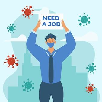 사람과의 코로나 바이러스 위기로 인한 직업 상실