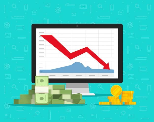 コンピューター株のグラフまたは画面上の矢印の下向きのキャッシュチャートとpcのオンライン取引市場でのお金の損失