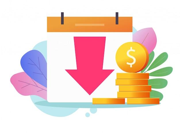 Loss money revenue  and cost financial expenses or economic crisis recession market fall cash