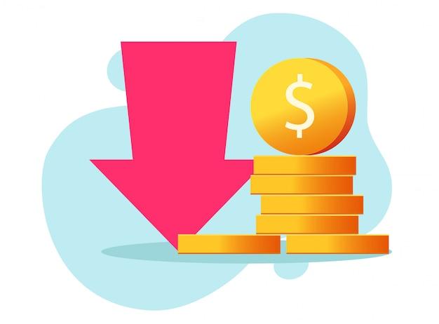 Loss money revenue  and cost financial expenses or economic recession market fall crisis cash