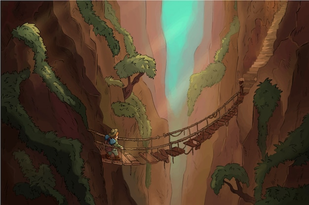 Lost canyon with suspension bridge comic illustration