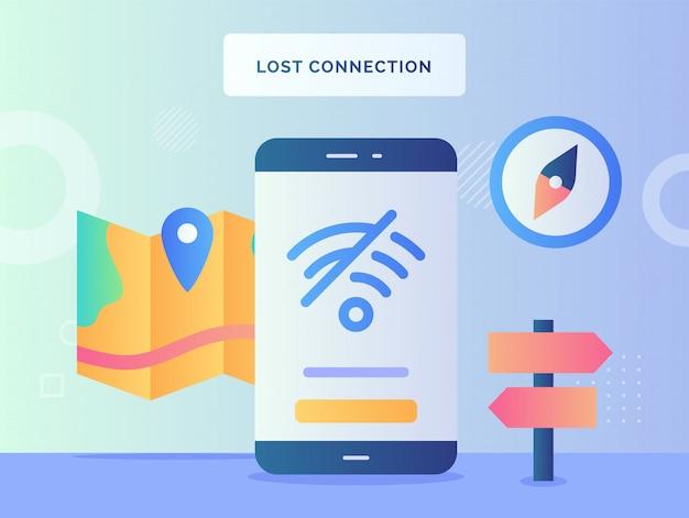 Значок wi-fi концепции потерянного соединения перечеркнул отсутствие сигнала доступа в интернет на фоне экрана смартфона дисплея указателя карты компаса с плоским стилем.